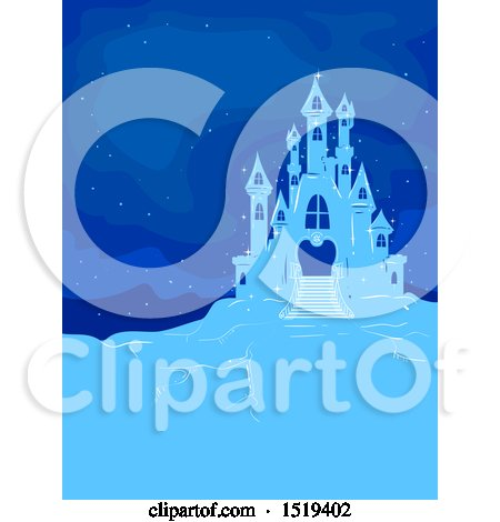 Clipart of a Blue Ice Castle at Night - Royalty Free Vector Illustration by BNP Design Studio