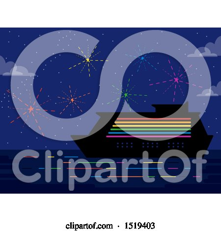 Clipart of a Rainbow Cruise Ship and Fireworks - Royalty Free Vector Illustration by BNP Design Studio