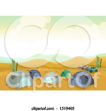 Clipart of a Campground with Tents in the Desert - Royalty Free Vector Illustration by BNP Design Studio