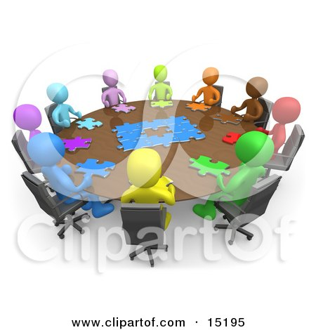 Group Of Colorful And Diverse People Holding A Meeting And Trying To Solve A Jigsaw Around A Large Rectangular Conference Table In An Office  Posters, Art Prints