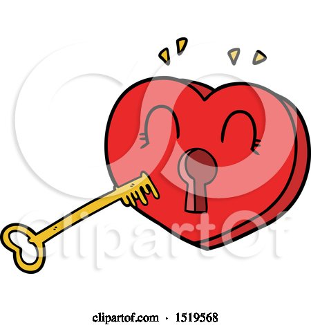 Cartoon Heart with Key by lineartestpilot