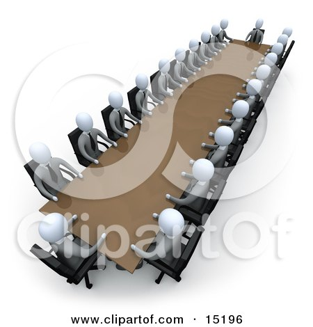 Group Of Grey People Holding A Meeting Around a Large Rectangular Conference Table In An Office Clipart Illustration Image by 3poD