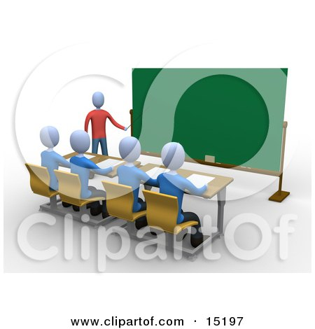 Blue Teacher Standing In Front Of A Blank Chalkboard And Using A Pointer Stick While Teaching A Row Of Focused Students In A Classroom Clipart Illustration Image by 3poD