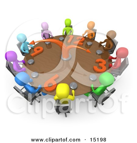 Group Of Colorful And Diverse Busy People On A Tight Schedule Holding A Meeting About Labour Hours Around A Giant Clock Conference Table  Posters, Art Prints