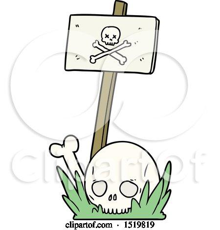 Cartoon Skull Bones and Warning Sign by lineartestpilot