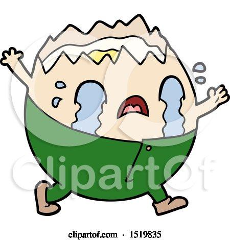 Humpty Dumpty Cartoon Egg Man Crying by lineartestpilot