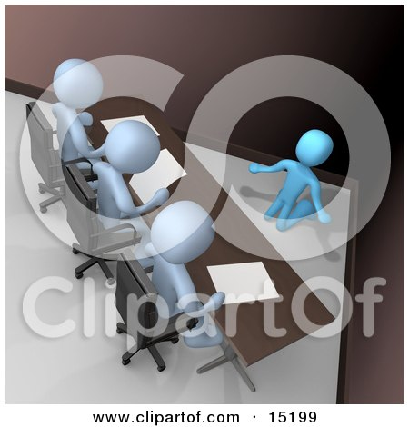 Nervous And Scared Blue Person Kneeling And Begging While Being Reviewed Or Intereviewed By A Panel Of Judges Or Bosses Clipart Illustration Image by 3poD