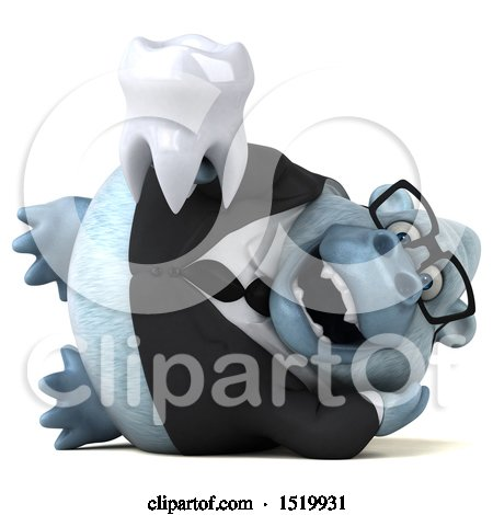 Clipart of a 3d White Business Monkey Yeti Holding a Tooth, on a White Background - Royalty Free Illustration by Julos