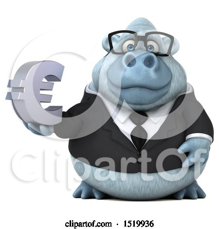 Clipart of a 3d White Business Monkey Yeti Holding a Euro, on a White Background - Royalty Free Illustration by Julos
