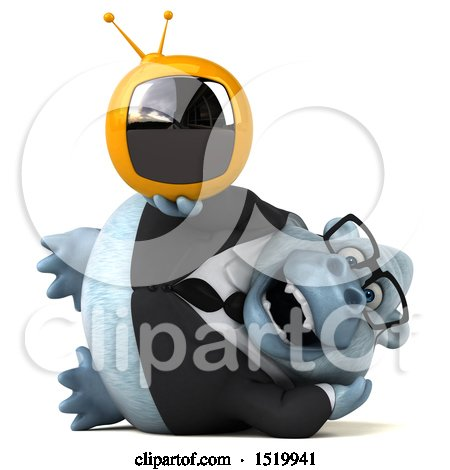 Clipart of a 3d White Business Monkey Yeti Holding a Tv, on a White Background - Royalty Free Illustration by Julos