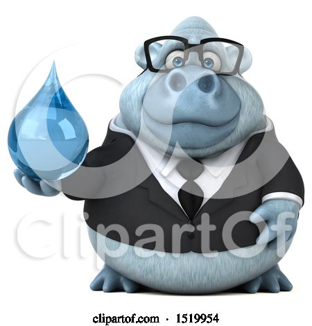 Clipart of a 3d White Business Monkey Yeti Holding a Water Drop, on a White Background - Royalty Free Illustration by Julos