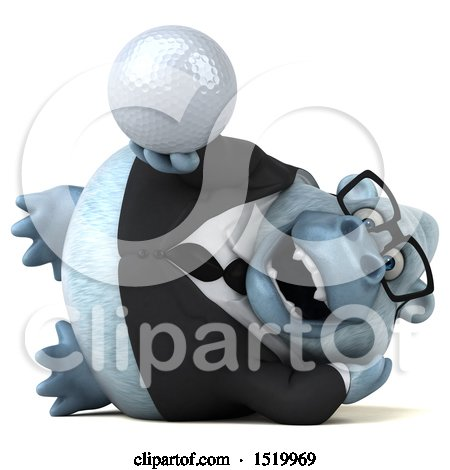 Clipart of a 3d White Business Monkey Yeti Holding a Golf Ball, on a White Background - Royalty Free Illustration by Julos