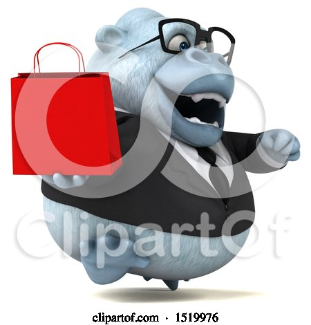 Clipart of a 3d White Business Monkey Yeti Holding a Shopping Bag, on a White Background - Royalty Free Illustration by Julos