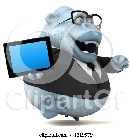 Clipart of a 3d White Business Monkey Yeti Holding a Tablet, on a White Background - Royalty Free Illustration by Julos