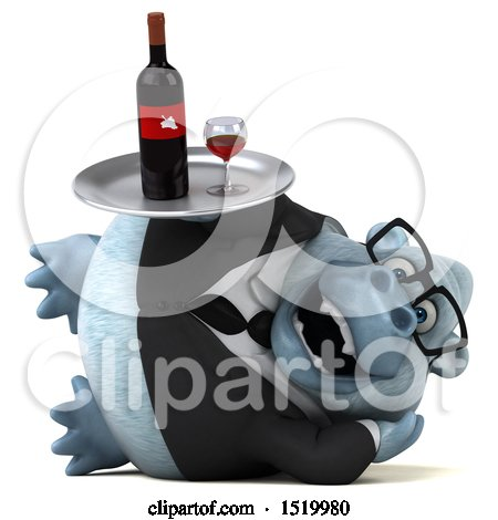 Clipart of a 3d White Business Monkey Yeti Holding Wine, on a White Background - Royalty Free Illustration by Julos