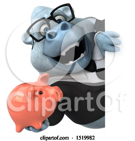 Clipart of a 3d White Business Monkey Yeti Holding a Piggy Bank, on a White Background - Royalty Free Illustration by Julos