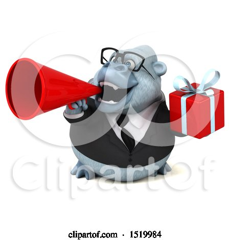 Clipart of a 3d White Business Monkey Yeti Holding a Gift, on a White Background - Royalty Free Illustration by Julos