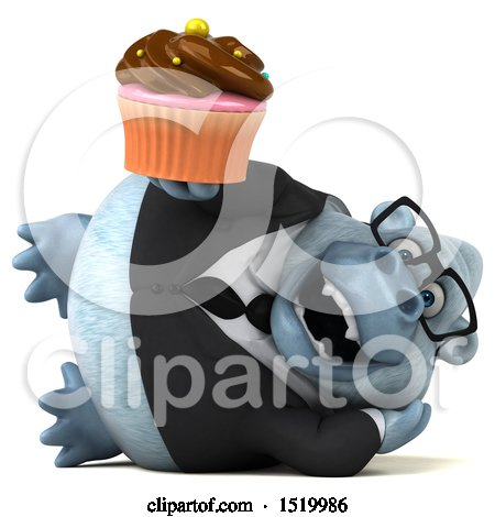 Clipart of a 3d White Business Monkey Yeti Holding a Cupcake, on a White Background - Royalty Free Illustration by Julos