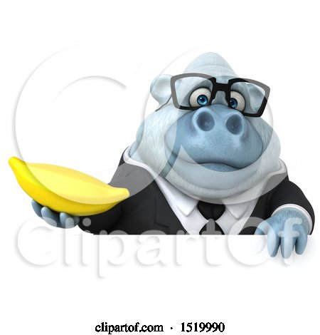 Clipart of a 3d White Business Monkey Yeti Holding a Banana, on a White Background - Royalty Free Illustration by Julos