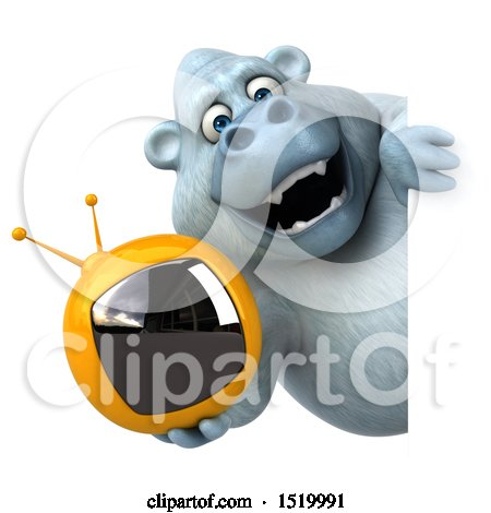 Clipart of a 3d White Monkey Yeti Holding a Tv, on a White Background - Royalty Free Illustration by Julos