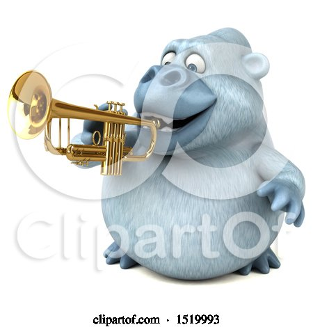 Clipart of a 3d White Monkey Yeti Playing a Trumpet, on a White Background - Royalty Free Illustration by Julos