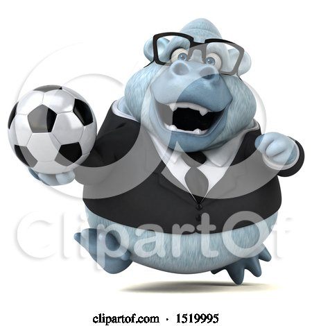 Clipart of a 3d White Business Monkey Yeti Holding a Soccer Ball, on a White Background - Royalty Free Illustration by Julos