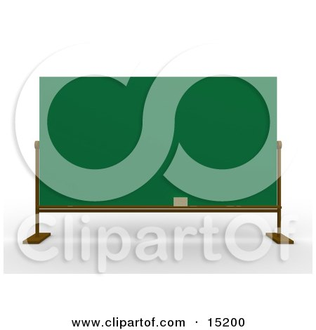 Eraser Resting On The Bottom Of A Blank Green Chalkboard In A School Class Room Clipart Illustration Image by 3poD