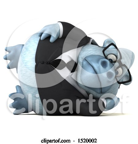 Clipart of a 3d White Business Monkey Yeti, on a White Background - Royalty Free Illustration by Julos