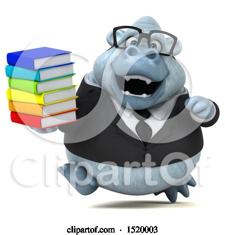 Clipart of a 3d White Business Monkey Yeti Holding Books, on a White Background - Royalty Free Illustration by Julos