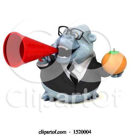 Clipart of a 3d White Business Monkey Yeti Holding an Orange, on a White Background - Royalty Free Illustration by Julos