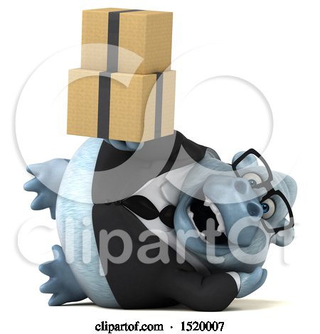Clipart of a 3d White Business Monkey Yeti Holding Boxes, on a White Background - Royalty Free Illustration by Julos