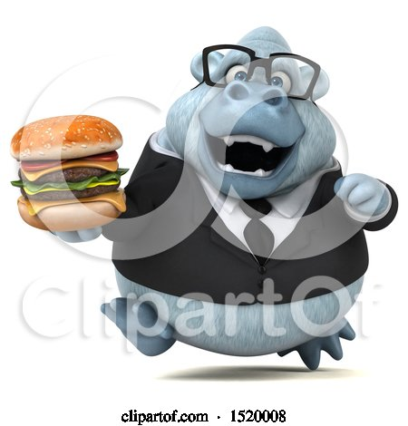 Clipart of a 3d White Business Monkey Yeti Holding a Burger, on a White Background - Royalty Free Illustration by Julos