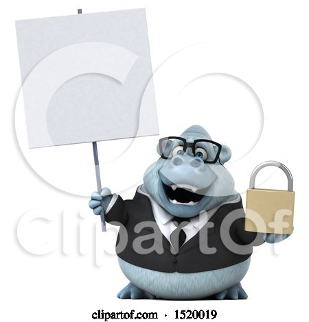 3d White Business Monkey Yeti Holding a Padlock, on a White Background Posters, Art Prints