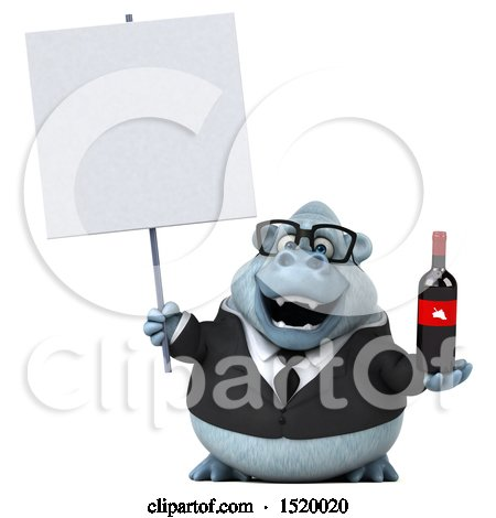 3d White Business Monkey Yeti Holding Wine, on a White Background Posters, Art Prints