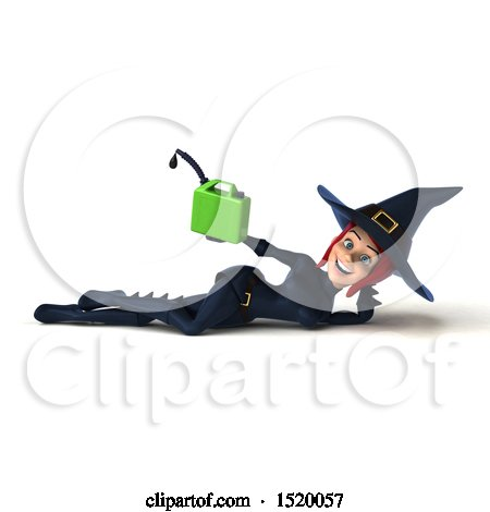 Clipart of a 3d Sexy Blue Witch Holding a Gas Can, on a White Background - Royalty Free Illustration by Julos