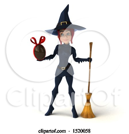 Clipart of a 3d Sexy Blue Witch Holding a Chocolate Egg, on a White Background - Royalty Free Illustration by Julos