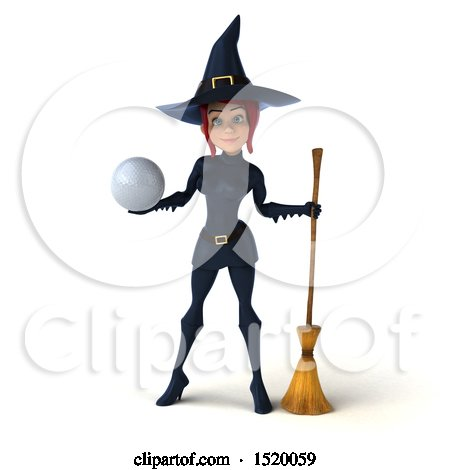 Clipart of a 3d Sexy Blue Witch Holding a Golf Ball, on a White Background - Royalty Free Illustration by Julos