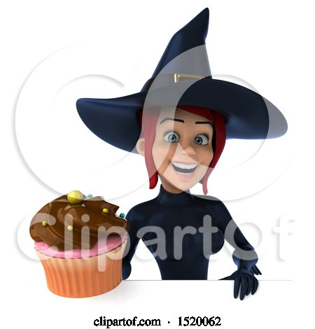 Clipart of a 3d Sexy Blue Witch Holding a Cupcake, on a White Background - Royalty Free Illustration by Julos