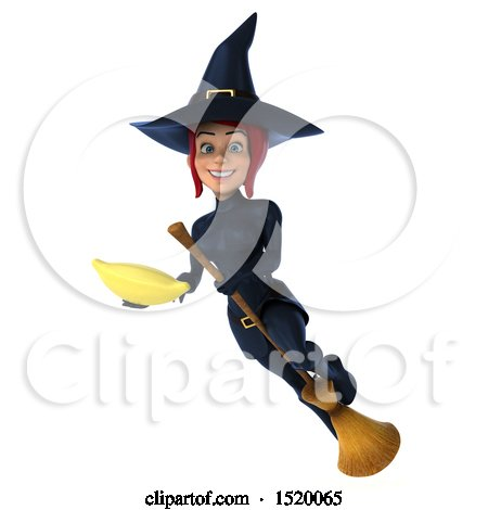 Clipart of a 3d Sexy Blue Witch Holding a Banana, on a White Background - Royalty Free Illustration by Julos