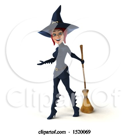 Clipart of a 3d Sexy Blue Witch, on a White Background - Royalty Free Illustration by Julos
