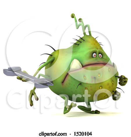Clipart of a 3d Green Germ Monster Holding a Wrench, on a White Background - Royalty Free Illustration by Julos