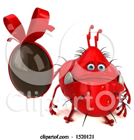 Clipart of a 3d Red Germ Monster Holding a Chocolate Egg, on a White Background - Royalty Free Illustration by Julos