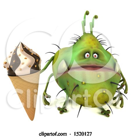 Clipart of a 3d Green Germ Monster Holding an Ice Cream Cone, on a White Background - Royalty Free Illustration by Julos