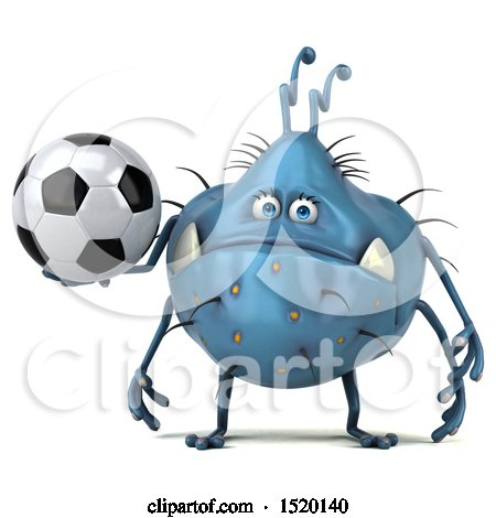Clipart of a 3d Blue Germ Monster Holding a Soccer Ball, on a White Background - Royalty Free Illustration by Julos