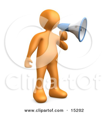 Orange Person Announcing Through A Megaphone Clipart Illustration Image by 3poD