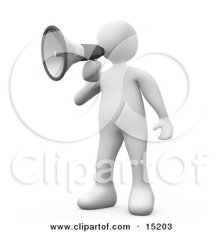 Clipart 3d White Men Shouting Through Bullhorns At A Man - Royalty ...