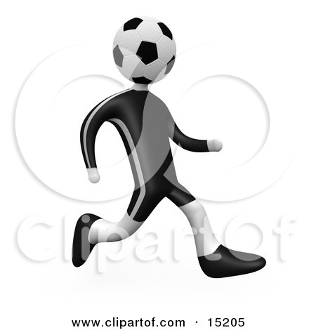 player person with a soccer ball head running over a white background.
