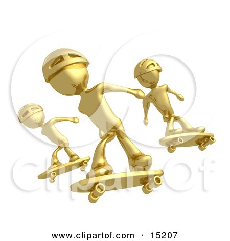 Three Gold Skateboarders In Helmets Catching Air All At The Same Time  Posters, Art Prints