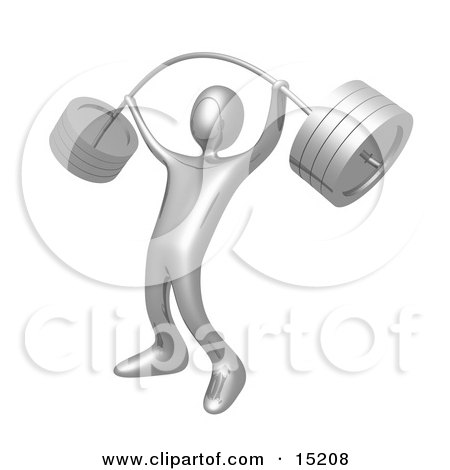 Strong Silver Man Holding Heavy And Bending Barbell Weights Above His Head In A Fitness Gym Clipart Illustration Image by 3poD
