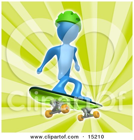 Blue Person Wearing A Green Helmet And Skateboarding Over A Green Background  Posters, Art Prints